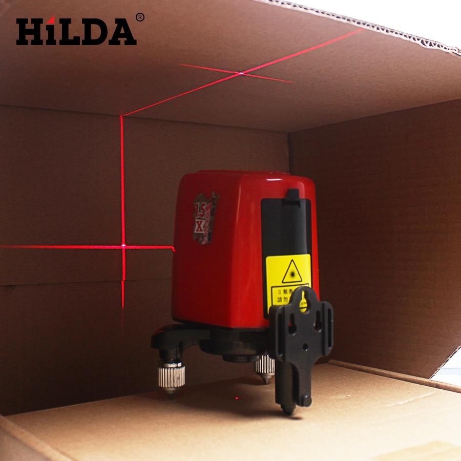 HILDA 3 Lines 3 Points Rotary Horizontal Vertical Red Laser Levels Cross laser Line + Laser Highlights 360 Degree Self-leveling <br>
