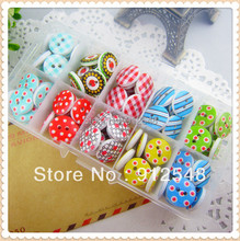 10 style mix , 100 pcs , Print 2 Holes Wooden Buttons 15mm Sewing Scrapbooking Crafts,Clothing accessories,JBT62...