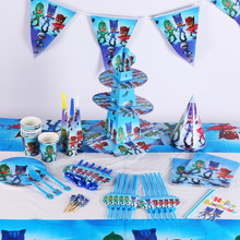 Cartoon Disposable Tableware PJ Masks Theme TableCloth cups Paper plate Napkin Flag/Banner Kids Boy Birthday Party Decoration