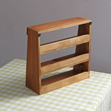 1PC Vintage retro wooden shelf three layer wooden furniture storage cabinet box wall storage rack 24cm *23.5cm *9cm