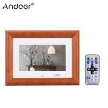 "Andoer 7"" Desktop Wood LCD Digital Photo Frame MP3 MP4 Music Player Movie Player with Remote Controller Christmas Gift"
