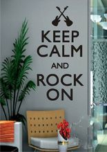 "English quote "" Keep Calm And Rock On"" Music Notes Quotes Wall art Sticker Wall Decals Wall Stickers For Home Decor(China)"
