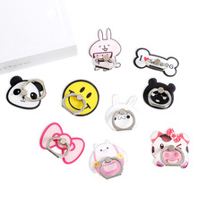 New Design 1 Piece Cartoon Acrylic Finger Ring Mobile Phone Holder Stand Lovely Panda Bow Knot Pattern Smartphone Ring
