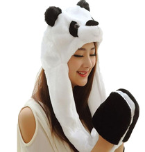 Hoodie Scarf Panda Monkey Penguin Beetle Cartoon Warm Hooded Gloves Hat Scarf(China)