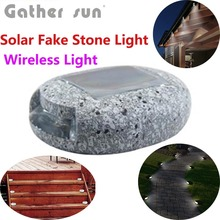 Led Solar Pathway/Stairs Light Outdoor Solar Power Panel Light Colophony Fake Stone Lamp For Garden Lighting IP44 Waterproof