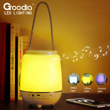Portable Bluetooth Audio Night Light USB Rechargeable LED Dimmer Eye Protect Touch Table Lamp with Speaker Colorful Light
