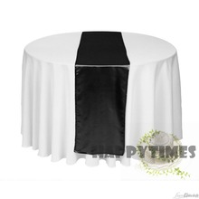 20 Pieces Good Black Table Runner For Round Table cover Table Linen Wedding Satin Table Ribbon Shiny Satin Fabric Free Shipping(China)