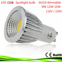 1X led bulb gu10 9W 12W 15W LED lamp lighting Light 110V 220V dimmable bombillas lampada led e14 COB Spot light Warm/Cool White