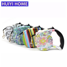 Huiyi Home 5m Pet Dog Leashes 12 Colors Retractable Dog Leash Colorful Flower Dog Belt Dogs Pets Accessories ENA013(China)