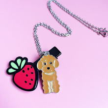 Wholesale cheap 3 color Teddy Necklace Pet Tag Necklaces Pendants Choker Women Gifts to best friend DIY Poodle Hand catenary