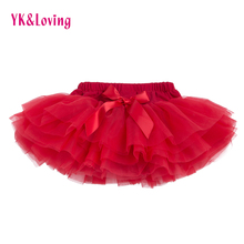 New Baby Girls Ruffle Bloomers TuTu Skirt Ball Gown Rose Red Fuffy Pettiskirt Baby 6 Tulle Layered Children Clothing Set Outfit(China)