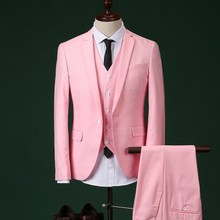 2017 Men Slim Fit Pink Suit Wedding Groom Mens Prom Suits With Pants Party Dinner Tuxedos For Men ( jacket+Pants++vest+tie)(China)