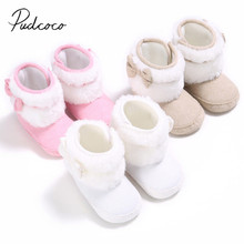 2018 Brand New Newborn Baby Infant Toddler Girl Boots Crib Shoes Bow Prewalkers Furry Snow Winter Warm Boots Bowknot Walkers(China)