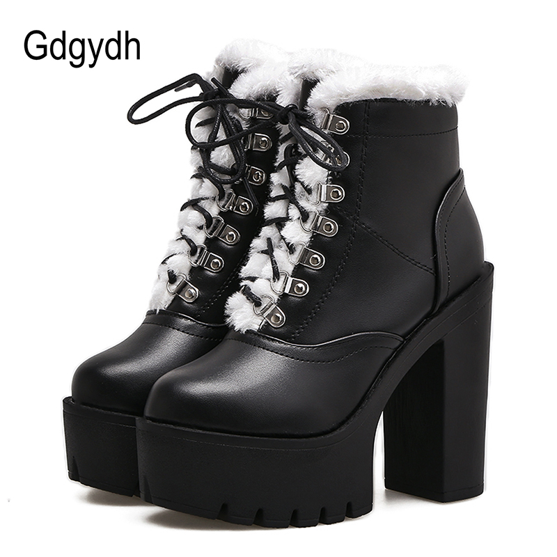 Gdgydh Fashion Fur Winter Shoes Women New Slip-resistant Female Ankle Boots Lacing platform short booties Black PU Leather<br>