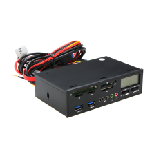 "5.25"" USB 3.0 e-SATA All-in-1 PC Media Dashboard Multi-function Front Panel Card Reader Support for MMC/SDHC/CF/CFII/HS CF"
