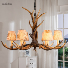 6 Lights Vintage Deer Chandelier Antlers Resin Chandeliers Candle Fixtures with Alphabet Cloth Lampshade Christmas Decor Lustres