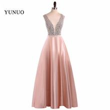 Buy 2017 Prom Dresses Line Party Dresses Sexy V Neck Sleeveless Vestido De Festa Beading Long Prom Dress Fashion Formal Gowns for $135.00 in AliExpress store