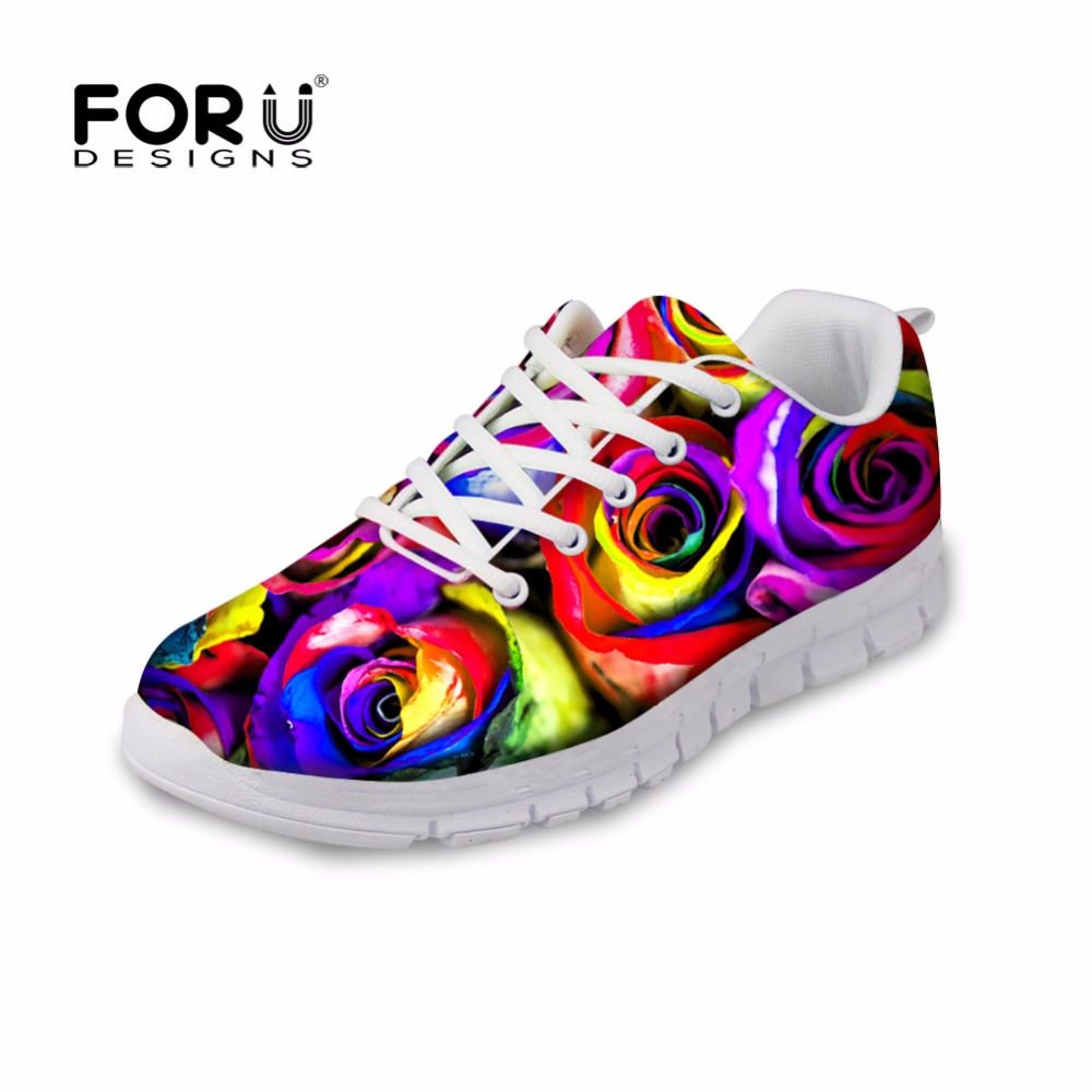 FORUDESIGNS Fashion Colorful Floral Printed Womens Flats Autumn Light Lace Up Shoe Casual Ladies Low Top Shoes Zapatillas Mujer<br>
