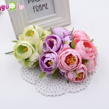 6pcs/lot 4.5cm artificial flowers simulation flowers small silk cloth roses tea bags diy handmade wedding ball decoration