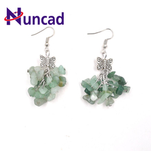2017 Vintage Alloy Bowknot style Green chalcedony earrings fashion earrings Birthday Gift Garment Accessories