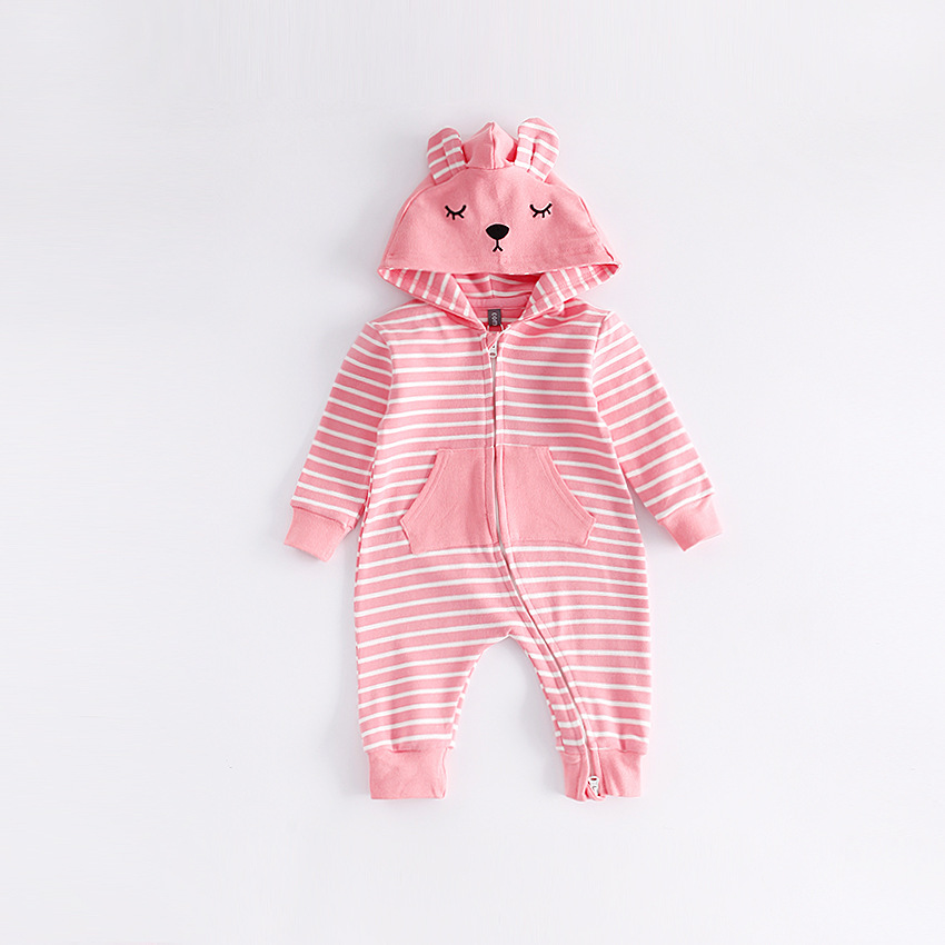 peninsula baby long sleeve thicken baby jumpsuit Newborn Boys Girls baby costume cartoon animal Hooded Outwear soft keep warm<br>