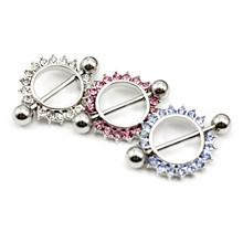 Fashion Body Piercing Jewelry Barbell Nipple Ring/Shield Sun Flower With Diamond(China)