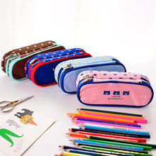 TDO 1PCS Cartoon Cute School Pencil Bag Pencil Pouch Double Zipper Pure and Fresh Bags Office Stationery Canvas Pencil Case