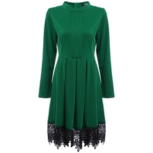 Buy Autumn Womens Elegant Fashion Lace Long Sleeve Tunic Pinup One Piece Dress Suit Work Office Casual Party Line Skater Dress for $19.96 in AliExpress store