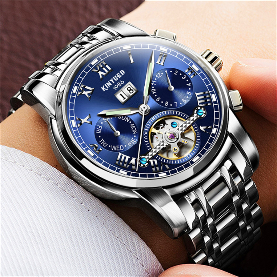 Mens Watches Top Brand Luxury Fashion Automatic Watch Men Skeleton Mechanical Stainless Steel Watch Luminous Tourbillon Watch<br>