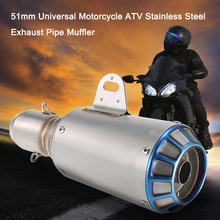 Motorcycle Exhaust 51mm Universal Motorcycle ATV Frosting Stainless Steel Exhaust Pipe Muffler For akrapovic exhaust motorcycle(China)