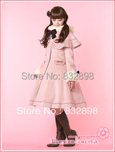Hot Sale  Japan Cheap  Custom made  Pink Wool  Hooded Sweet Lolita Coat  Girls Winter Coats Brand Long Winter Trench  Coat