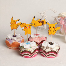 48pcs/lot Cartoon Pokemon Pikachu Children Birthday Party cupcake toppers picks Cake Accessory party Decoration Supply