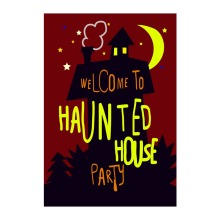 Welcome To Haunted House Halloween Party Decorative Garden Flag Designed With Double Sided Print Outdoor Home Banner