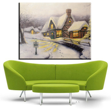 ZZ443 modern decorative canvas art thomas kinkade snow winter cottage canvas pictures oil art painting for livingroom wall(China)