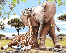 Giraffe Elephant family animals oil painting Room Decor Painting living room Oil Painting picture By Numbers Drawing By Numbers(China)