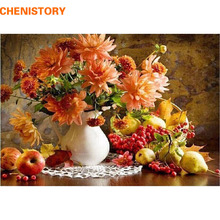 CHENISTORY Flower Landscape DIY Painting By Numbers Kits Drawing Painting By Numbers Acrylic Paint On Canvas For Room Artwork(China)