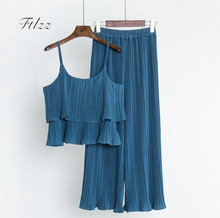 Buy 2018 Summer New Women Sexy Lotus Leaf Spaghetti Tops + Pants Pleated Chiffon Suits Womens 2 Piece Sets Clothes Girls Tracksuits for $16.88 in AliExpress store