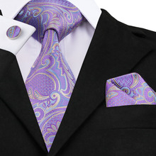 Mens Tie Purple Gold Jacquard Silk Fabric Necktie Hanky Cufflink Set Men Wedding Fashion Business Men Ties C-364