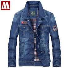 New Arrival Product 2017 Mens denim jacket brand 100% cotton casual mens jean jackets dark blue solid coat male clothing fashion