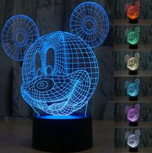 3D Table Lamp Creative Arcylic LED Night Light Colorful Atmosphere Desk Lamp with USB Cable Best Gift for Children(China)