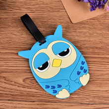 1PCS Cute Travel Large Luggage Tag Cartoon Silica Gel Animal Blue Owl Suitcase Baggage Boarding Tags Portable Travel Label(China)