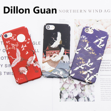 For iPhone 6 case DILLON GUAN Moon Night Art case For iPhone 7 case Red-crowned Crane Sea Wave Matte PC Cover for iphone 8 case(China)