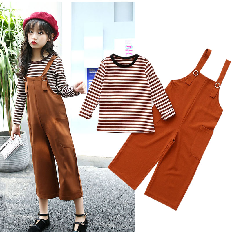 girls clothing sets autumn children tracksuit striped long sleeve t shirts + overalls pants Kids 2 pcs girls clothes suits<br>