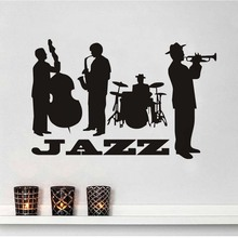 Creative Jazz Four Boys Playing Music Pattern Wall Sticker Shop Window Decor Vinyl Decal Rock Music Mural Diy Home Decor(China)