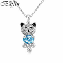 New Cute Teddy Bear Pendant Necklace Women Kids Maxi Colar Jewelry Made With Swarovski Elements Crystals from Swarovski