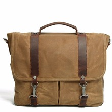 M107 New Men Vintage Canvas Messenger Bag Crazy Horse Leather Soft Man Travel Bags Retro School Bag Hasp Military Style Handbag(China)