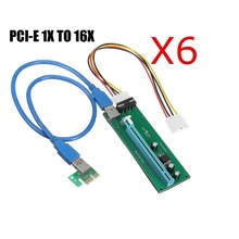 Buy 6 Pcs PCI-E PCI Express 1x 16x Extender Riser Card Adapter USB3.0 4 Pin SATA Power Cable Power Supply Bitcoin Mining for $43.69 in AliExpress store