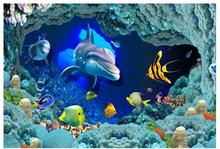 Custom photo Waterproof floor wallpaper 3 d world ocean floor dolphins 3d mural PVC wallpaper self-adhesion floor wallpaer(China)