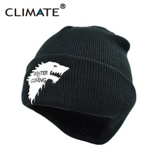 CLIMATE Game Of Thrones Warm Knitted Beanie Skullies House Of Stark Winter is Coming Dire Wolf Hat For Adult Men Women Teenager(China)