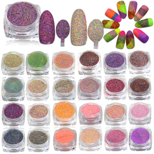 42pcs/sets 1g 3D Pigments Sequins Sugar Designs Nail Art Mixed Colors Glitter Powder Dust Nail Glitter Sparkly Tips TR#500-542(China)